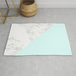 White Marble with Pastel Blue and Grey Rug