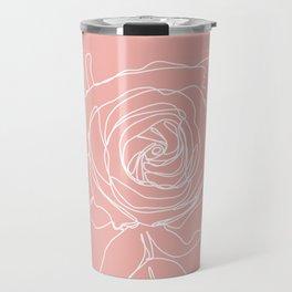 Rose Flower With Leaves One Line Art Travel Mug