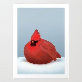 After Christmas cardinal bird Art Print