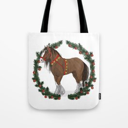 Brown Draft Horse in Merry Wreath Tote Bag