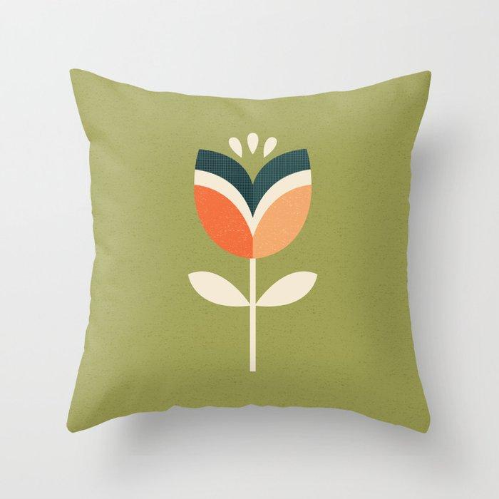 olive green pillows. RETRO TULIP - ORANGE AND OLIVE GREEN Throw Pillow Olive Green Pillows