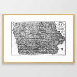 Vintage Map of Iowa (1875) BW Framed Art Print