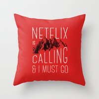 netflix Throw Pillows featuring Netflix is calling by Zeke Tucker