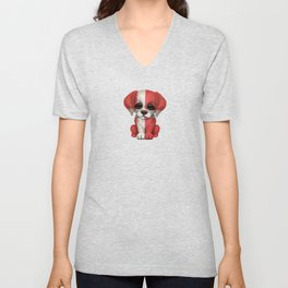Cute Puppy Dog with flag of Denmark Unisex V-Neck