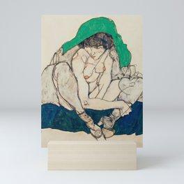 "Egon Schiele ""Crouching Woman with Green Headscarf"" Mini Art Print"