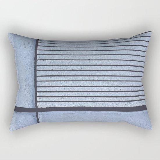 Concrete Stripe Blue Rectangular Pillow