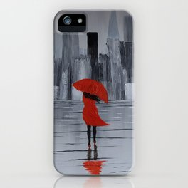Lady in Red in Louboutine Shoes Walking Through London iPhone Case