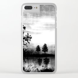Abend am See - schwarz-weiß Clear iPhone Case