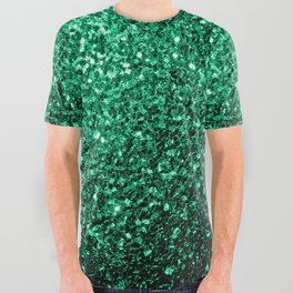 Beautiful Emerald Green glitter sparkles All Over Graphic Tee
