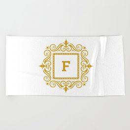 Decorative Monogram F Gold Beach Towel