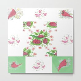 Cardinal Ladybug Pattern Metal Print