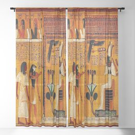 Book of the Dead - Last Judgement of Hu-Nefer - Thebes - Egypt - ca. 1290-1280 BCE - New Kingdom - Dynasty XIX - Ancient Egyptian Text with Spells, Prayers, and Incantations - Amazing Oil painting - Sheer Curtain
