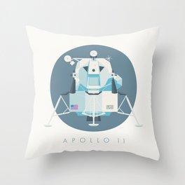 Apollo 11 Lunar Lander Module - Text Slate Throw Pillow