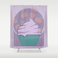 cupcake Shower Curtains featuring Cupcake by Perdita