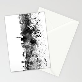 Berlin skyline in black watercolor Stationery Cards