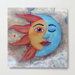 Soluna, Sun and Moon Mixed media Painting Metal Print