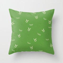 Taurus Pattern - Green Throw Pillow