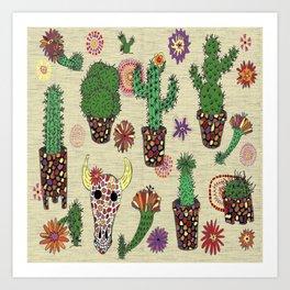 mosaic cactus plant pots Art Print