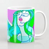 aquaman Mugs featuring aquaman and the mermaid by Davey Charles