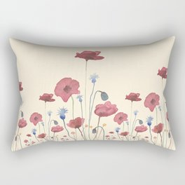 Red & Blue Poppies Rectangular Pillow