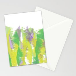 Natural colors - abstract art - green, yellow, purple Stationery Cards