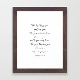 The Lord Bless You  - Numbers 6:24-26 Framed Art Print