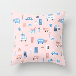 Fruit city and cars Throw Pillow