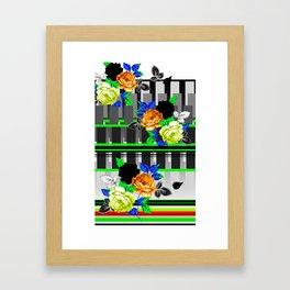 Chintz Rose Orange & Green Framed Art Print