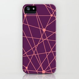 Magenta and Coral Geometric Lines iPhone Case