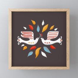 Retro christmas birds illustration Framed Mini Art Print