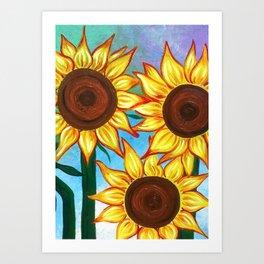 Three Sunflowers Art Print