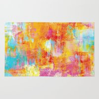 jazzberry Area & Throw Rugs featuring OFF THE GRID Colorful Pastel Neon Abstract Watercolor Acrylic Textural Art Painting Nature Rainbow  by EbiEmporium