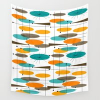 mid century modern Wall Tapestries featuring Mid-Century Modern Ovals Abstract II by Kippygirl