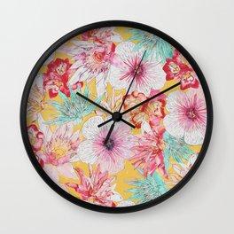 Pastel Floral Print Wall Clock