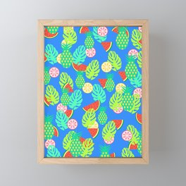 Watermelons and pineapples in blue Framed Mini Art Print