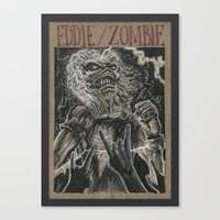 iron maiden Canvas Prints featuring Eddie the Head / Iron Maiden (DRAWLLOWEEN 8/31) by pakowacz