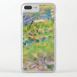 """Georges Seurat  """"Paysage, homme assis (étude pour Un Dimanche d'été à l'Ile de La Grande Jatte)"""" Clear iPhone Case"""