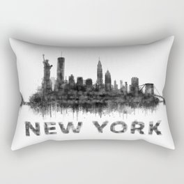 NY New York City Skyline NYC Black-White Watercolor art Rectangular Pillow