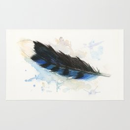 Watercolor Blue Jay Feather Rug