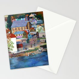 Autumn in New Hope on the Delaware, Bucks County, Pennsylvania. From oil painting by Pamela Parsons. Stationery Cards