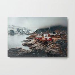 Foggy Coastal Town Seascape Metal Print