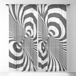 Dualism (black & white) Sheer Curtain
