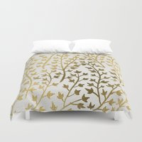 navy Duvet Covers featuring Gold Ivy by Cat Coquillette
