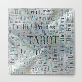 Tarot Major Arcana Word Art  on Pearl Metal Print