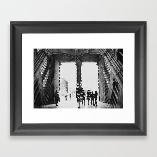 black and white cathedral Framed Art Print
