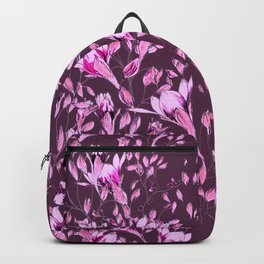 Climbing flowers among the leaves - violet, purple, magenta Backpack