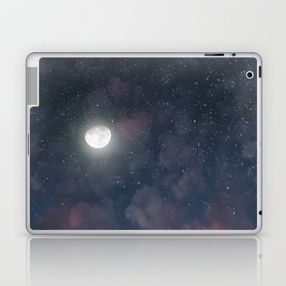 Glowing Moon on the night sky through pink clouds Laptop & iPad Skin