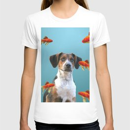 Jack Russel Dog with Goldfishes T-shirt