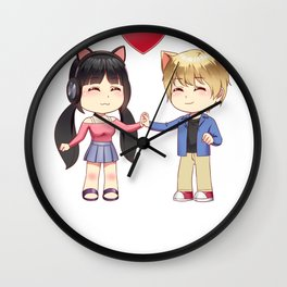Cute Chibi style Kawaii Anime Girl and Boy Couple Wall Clock