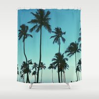 palm trees Shower Curtains featuring Palm Trees by Whitney Retter